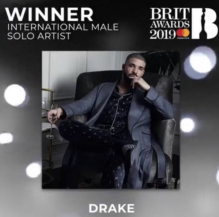 Drake wins International Male Solo Artist at the 2019 #BRITs<br>http://pic.twitter.com/50zlusK9Fr