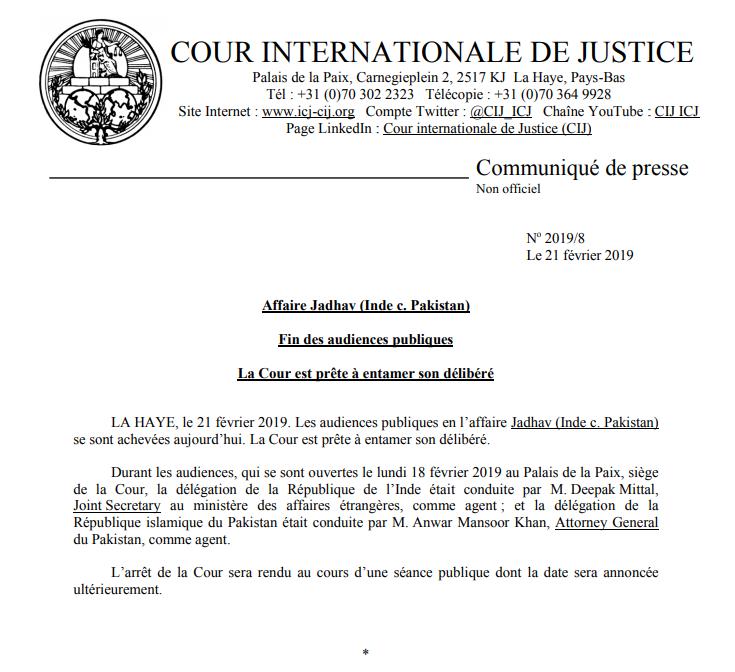 COMMUNIQUÉ: fin des audiences publiques dans l'affaire Jadhav (#Inde c. #Pakistan) devant la #CIJ https://bit.ly/2NiU831
