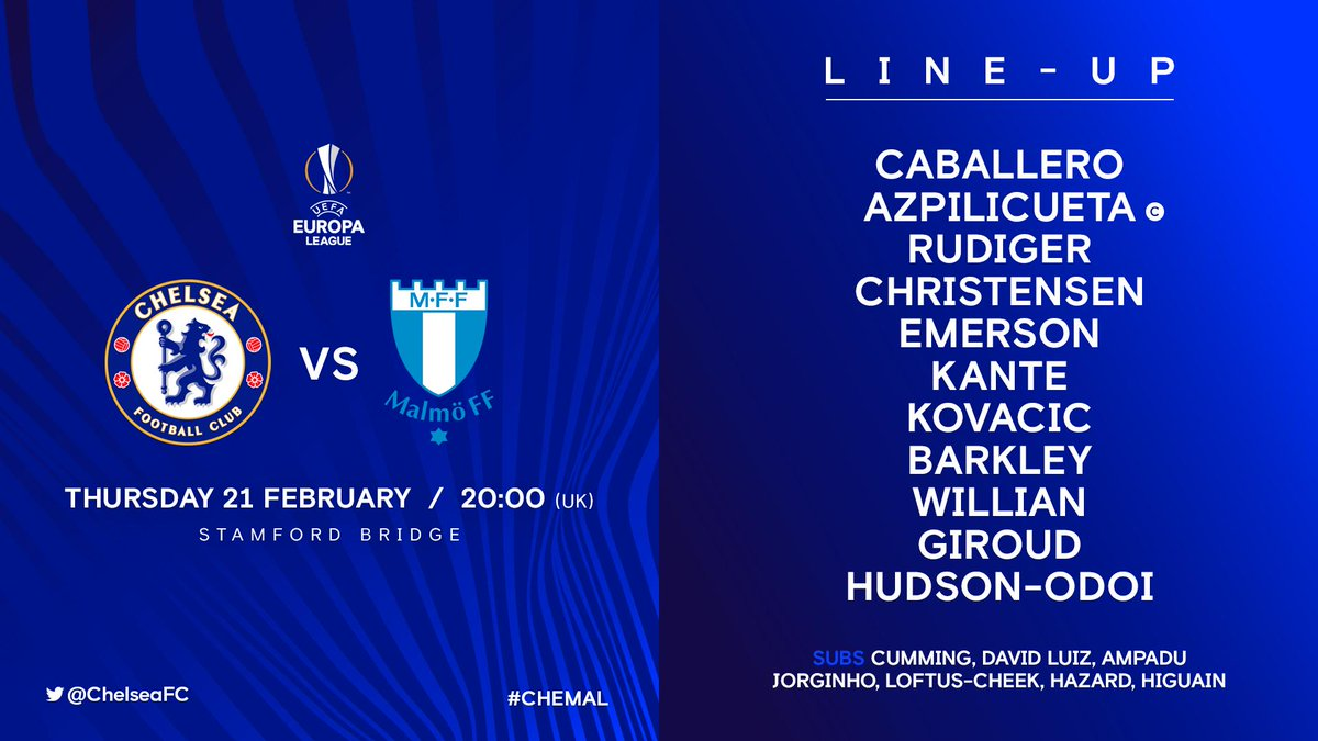 This is the team that Maurizio Sarri has chosen for this evening's game! 👊  #CHEMAL