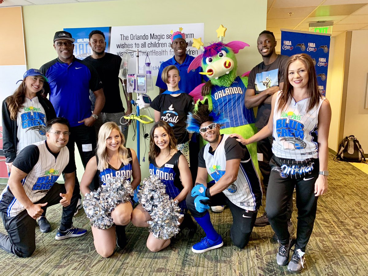 Saying hello to our super heroes today at @Adventhealth @nbacares @Community_Magic @JerianGrant @OrlandoMagic #NBAcares
