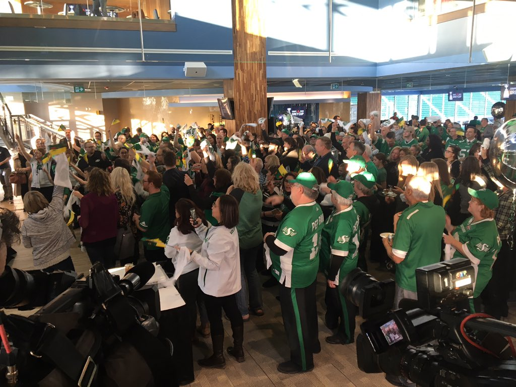 The Grey Cup watch party at Mosaic Stadium in Regina. Announcement for 2020 host city coming soon. #CFL #Riders