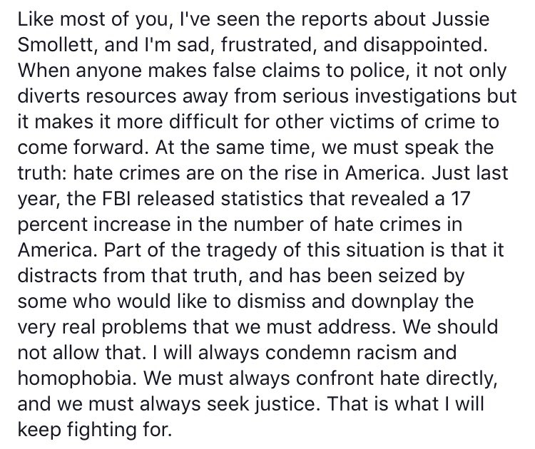 Like most of you, I've seen the reports about Jussie Smollett, and I'm sad, frustrated, and disappointed.