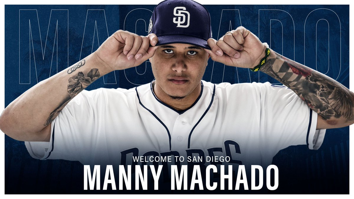 It's OFFICIAL! The #Padres have signed Manny Machado to a 10-year contract through the 2028 season. Welcome to San Diego, Manny! https://atmlb.com/2SkY6Jm