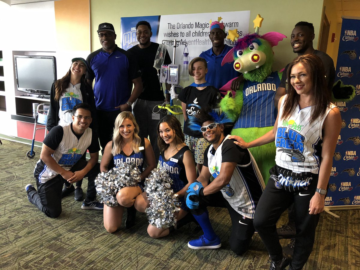 Having our friends from the @OrlandoMagic visit our littlest patients today was #puremagic ! All of the smiles and excitement left us all #feelingwhole.