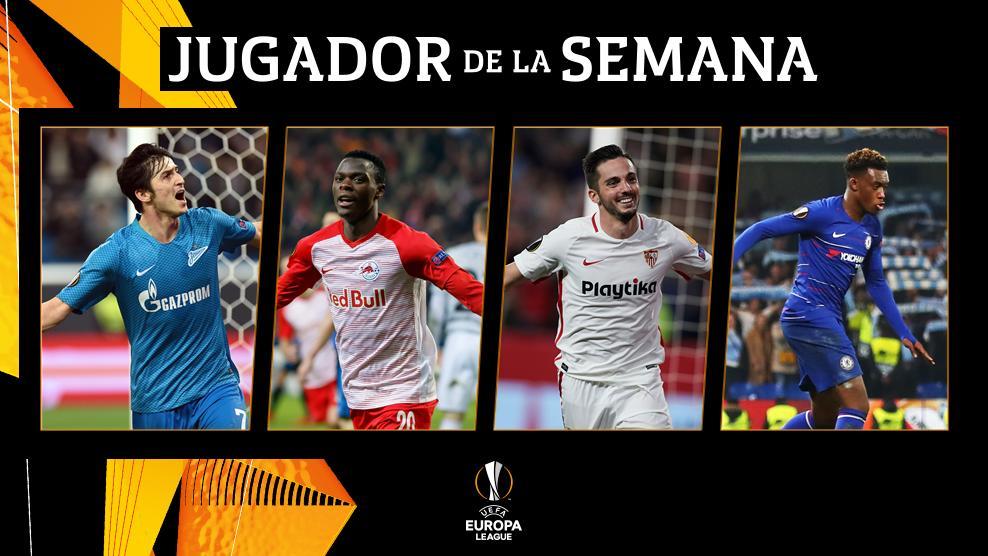 ✨ Jugador de la Semana de la #UEL ✨  🇮🇷 Azmoun  🇿🇲 Daka  🇪🇸 Sarabia  🏴 Hudson-Odoi   ¡A votar! 👇 https://bit.ly/2xEIZ5h #POTW