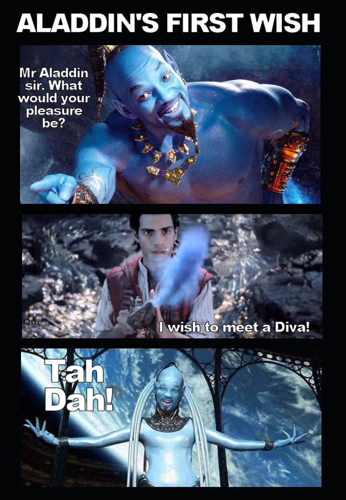 After watching the trailer, I&#39;m very afraid of watching the #Disney #Aladdin2019 Film. I predict this would happen... <br>http://pic.twitter.com/KyL7YQ04l9