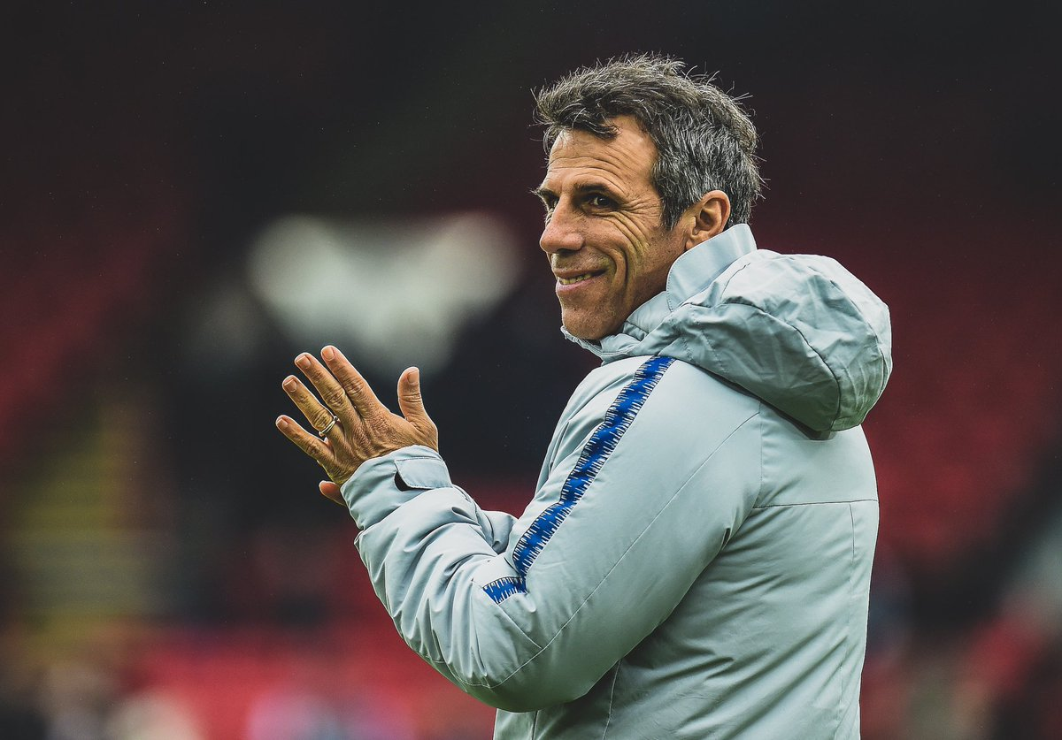 😔 @ChelseaFC assistant manager Gianfranco Zola has been re-admitted to hospital after suffering complications from gallstone surgery.  🏟 Zola was not on the bench for the @EmiratesFACup match against @ManUtd.  🙏 We wish him a healthy and speedy recovery.