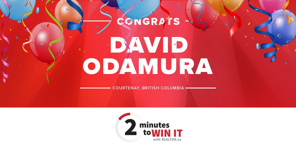 """test Twitter Media - Drumroll please! 🥁🥁🥁  Our """"2 Minutes to Win It with @REALTORdotca"""" grand prize winner of a $5,000 business makeover is David Odamura! https://t.co/BReS9H1Da8"""