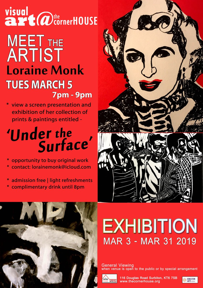 March exhibition at the cornerHOUSE is Under The Surface featuring the work of Loraine Monk. Gala night is Tuesday 5th from 7pm