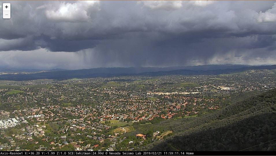 Scattered rain and snow showers breaking out near Simi Valley at Noon. There is the potential for lightning, small hail, and snow down to 1000 ft across #SoCal this afternoon! #CAwx #LARain Photo by SCEdison. <br>http://pic.twitter.com/9rmHK32Owt