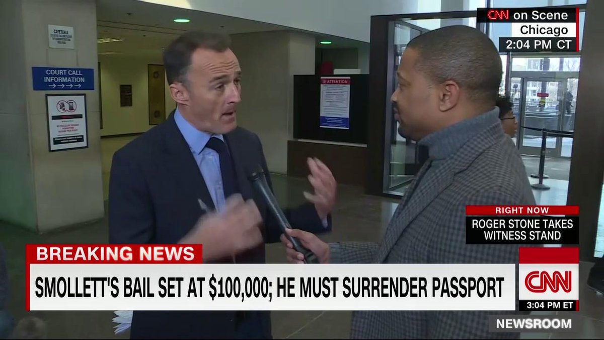 """""""Empire"""" actor Jussie Smollett's bond has been set at $100,000 and he must surrender his passport.   """"He was stone faced,"""" says @nickwattcnn who was inside the hearing and explains what happened. http://cnn.it/2DVHXow"""