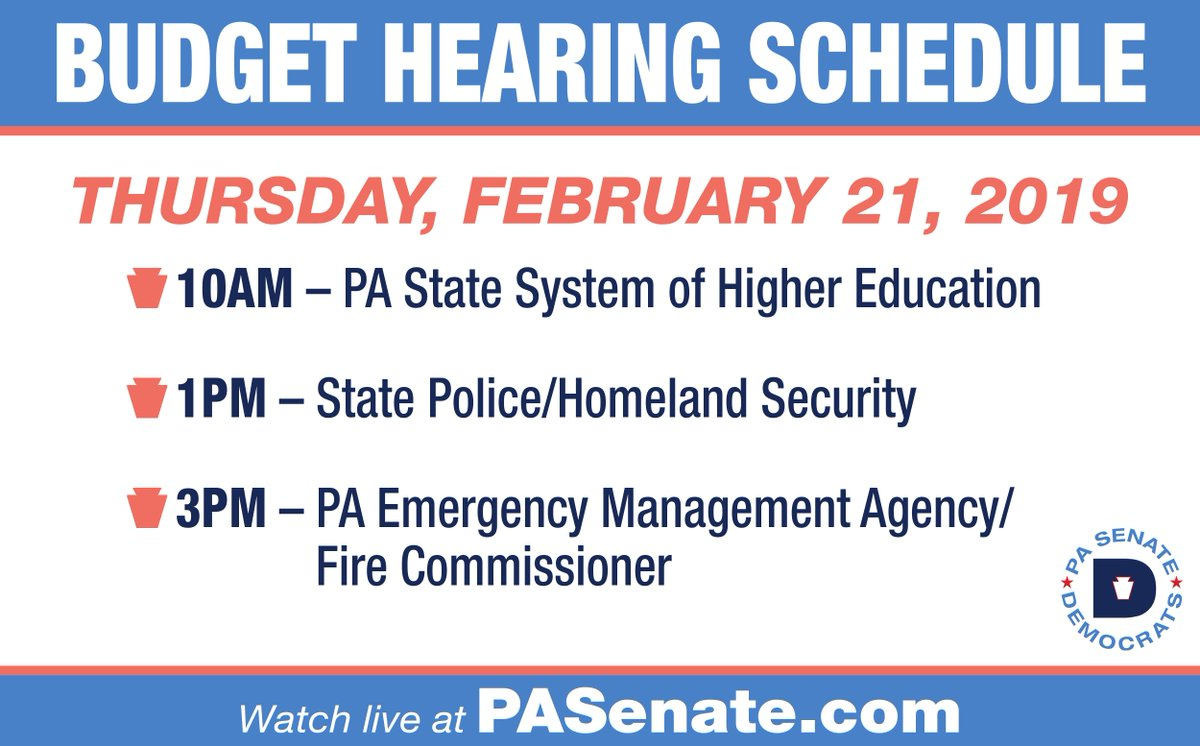 Watch our final #PABudget hearing hearing of the day with @ReadyPA & State Fire Commissioner on @senatorhughes website: http://senatorhughes.com/budget
