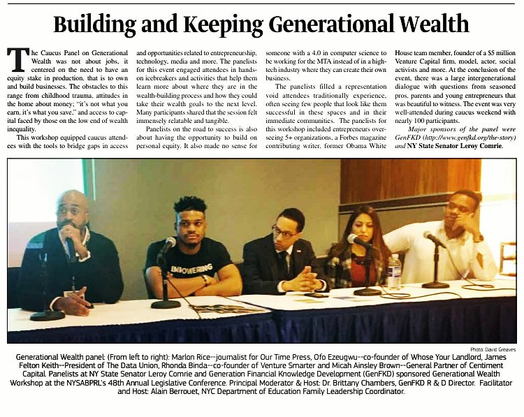 This week, @JFKii & others in @OurTimePress covering #GenerationalWealth & #Entrepreneurship.