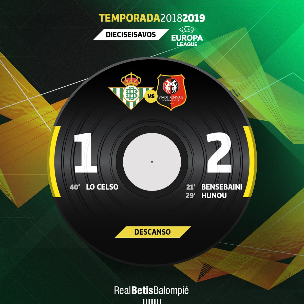 45' ⏱⚽️ Descanso en el Estadio Benito Villamarín   💚⚪️ #RealBetisSRFC 1-2 🔴⚫  #DíaDeBetis #EuroBetis