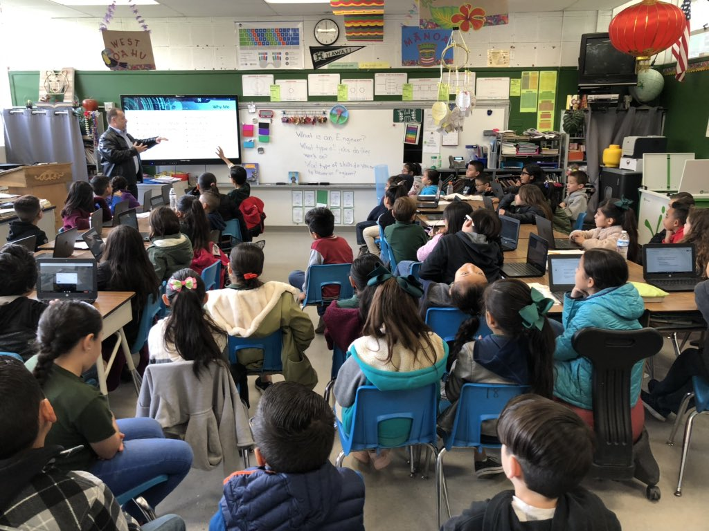Another great day @MageeBears for Engineer's week. Today we had the privilege of having #ElRanchoUSD IT Director @rollandtec and Kevin &amp; Nicolle from @Willdan_ civil engineering, speak to our bears about the field of engineering  <br>http://pic.twitter.com/fhcZ419cYL
