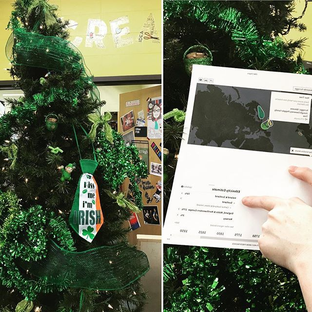 After Christmas, we decided the library should keep the tree and switch up the decor each holiday. I'm like Target - the day after Valentine's, we bring out the next holiday's merchandise: Happy St. Patrick's from this DNA confirmed 70% Irish gal ☘️ http://bit.ly/2GX8vci