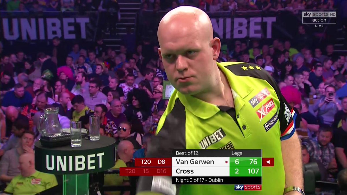 IT'S THREE IN A ROW FOR VAN GERWEN 💚   After going 6-0 up, Cross could only muster two legs in his comeback.   MvG stays unbeaten with a 7-2 win over Cross   #Unibet180