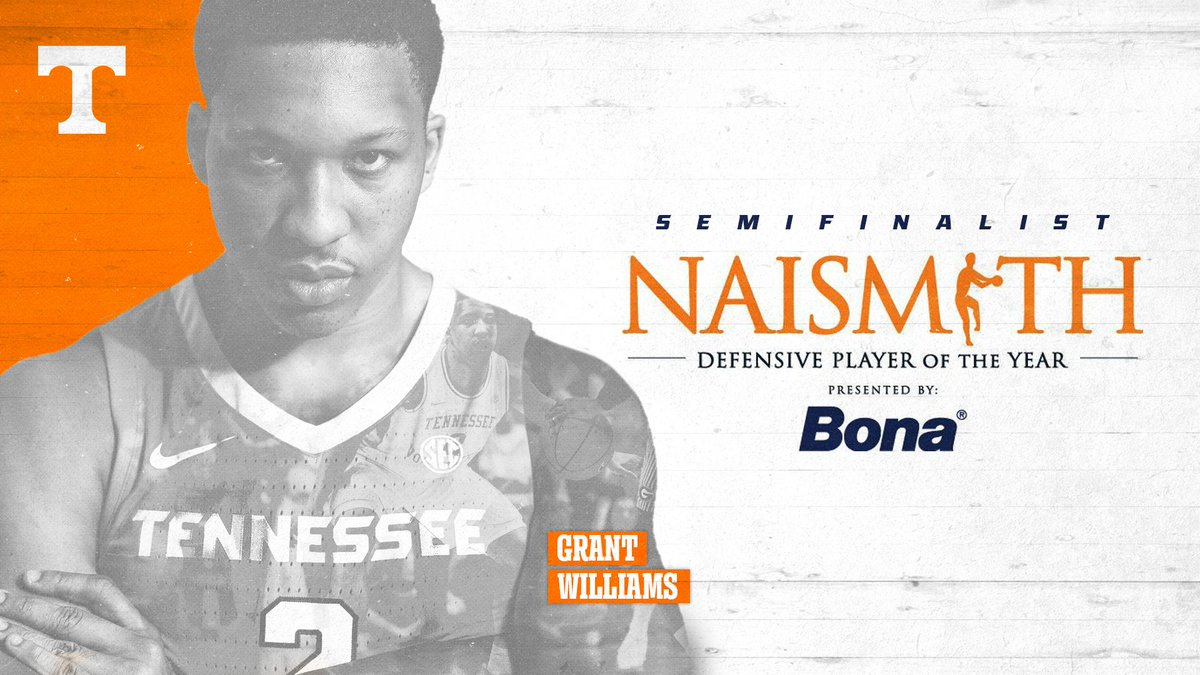 1 of just 3 #SECMBB players with 3⃣0⃣ blocks and 3⃣0⃣ steals this season  Grant Williams has been named a semifinalist for the 2019 Naismith Defensive Player of the Year Award   READ » http://1tn.co/2GUTzeF