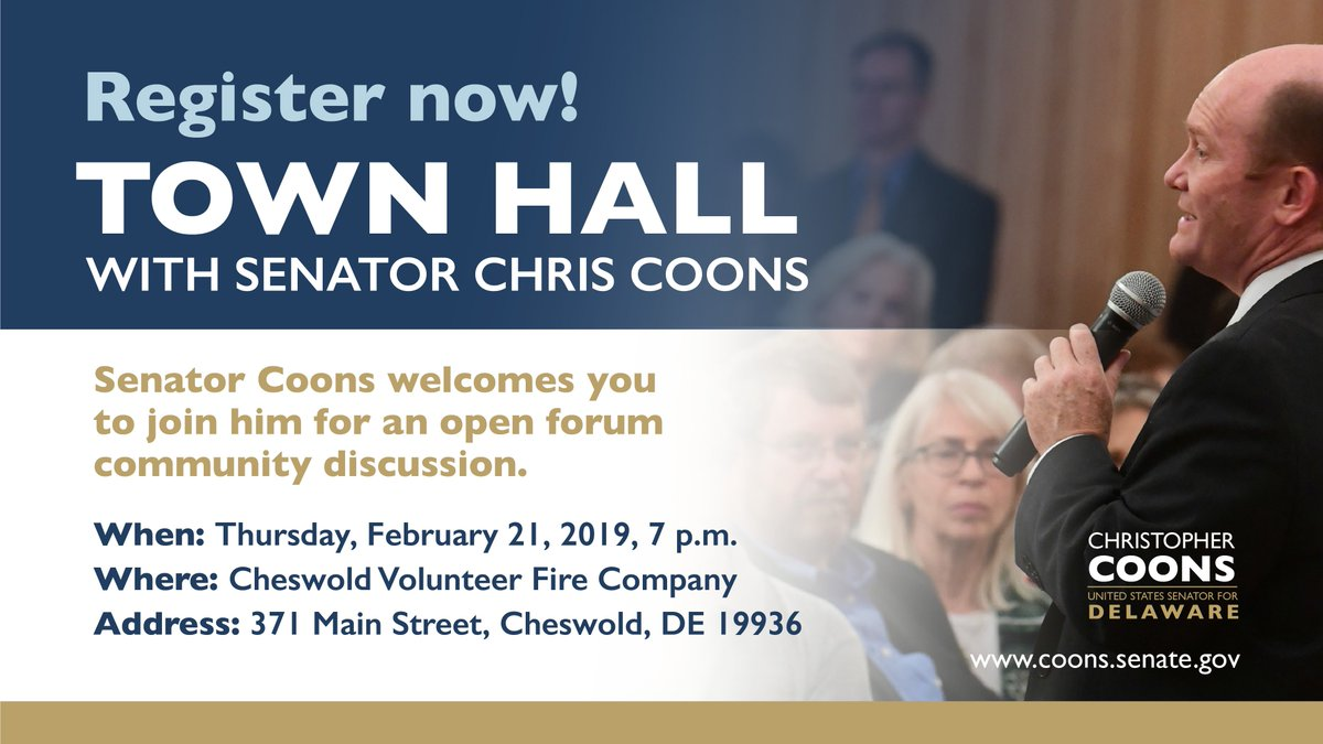 REMINDER: Join us for a town hall tonight at 7 p.m. at Cheswold Volunteer Fire Company! Find more information and register here:  https://t.co/grcdXSR3e3