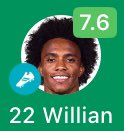Willian carrying Racist FC ffs