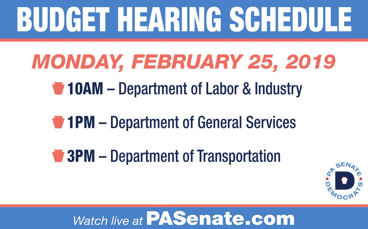 That's it for today's round of #PABudget hearings. We'll be back Monday w/ @PALaborIndustry at 10 a.m.,  Dept of General Services at 1 p.m.,  and @PennDOTNews at 3 p.m. You can watch archival footage of the hearings on @SenatorHughes website: http://senatorhughes.com/budget