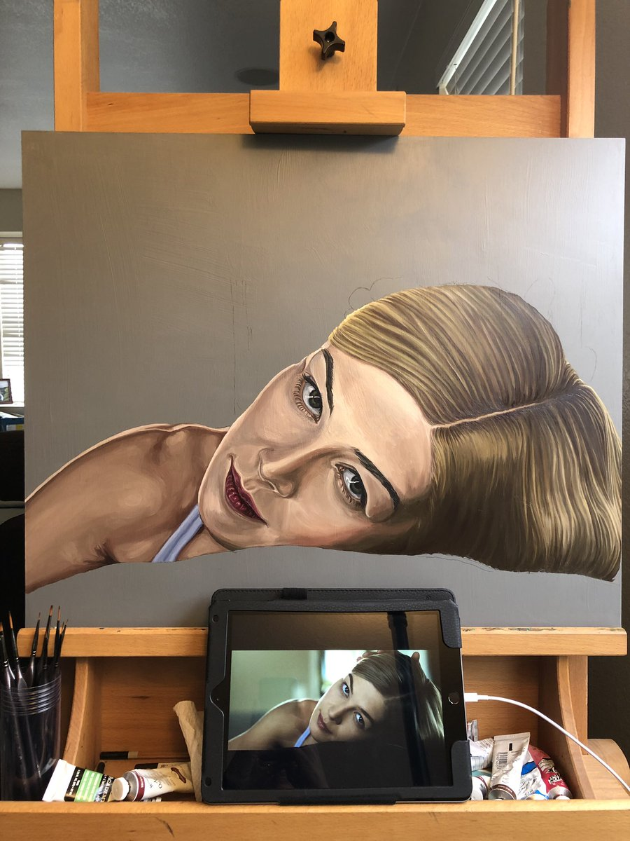 My painting of Rosamund Pike is coming along! Hours of painting hair. Lots more work to do! <br>http://pic.twitter.com/Y4JjZiKi8J