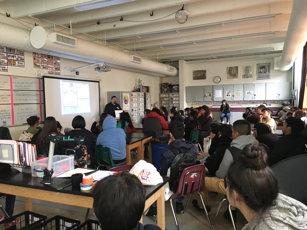 Art 1 students listening to an artist talk with nationally recognized artist and JF Kennedy graduate Alex Rubio #eisdfinearts #edgewoodproud #DrH_OnTheEdge