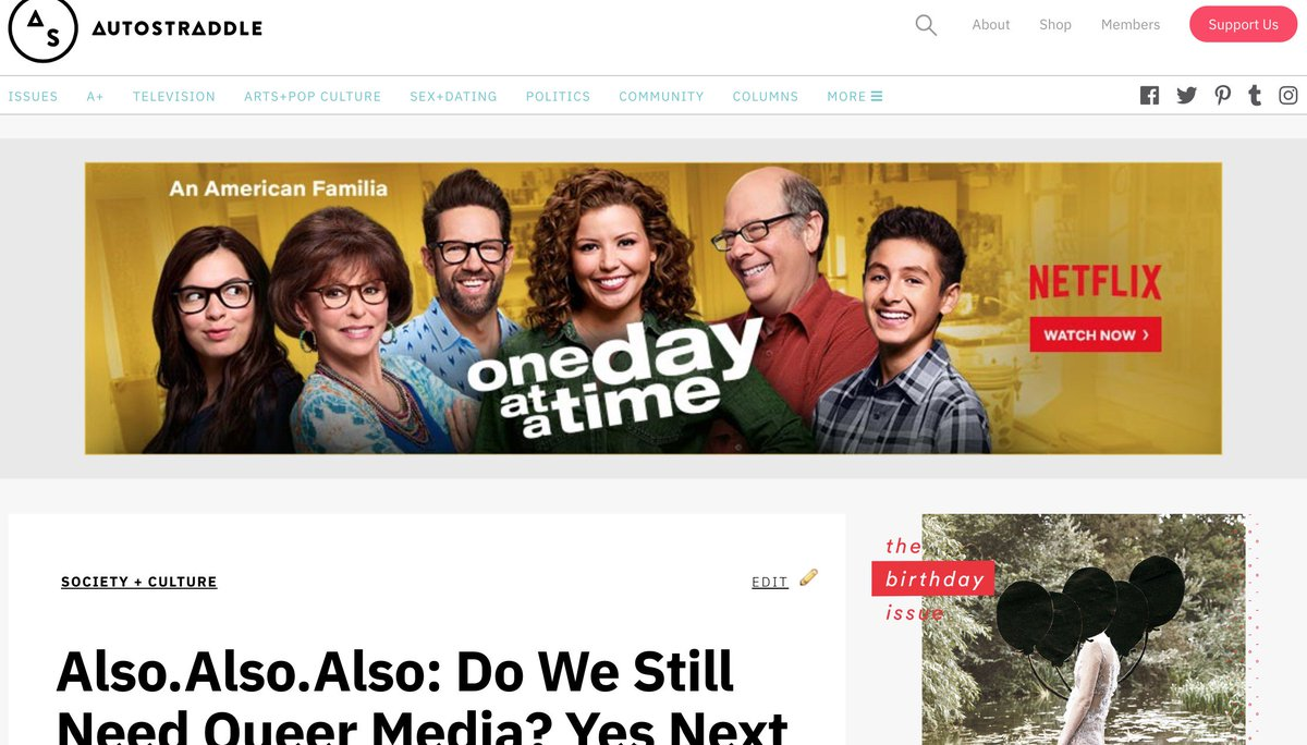 .@netflix should #RenewOneDayatATime because it&#39;s one of our most favorite shows of all time, it&#39;s smart &amp; inclusive, they mention @autostraddle in season one AND they&#39;re actually ADVERTISING ON OUR WEBSITE RIGHT NOW, which very few TV shows do! BECAUSE THEY GET IT. <br>http://pic.twitter.com/Eh3kHvvmUm