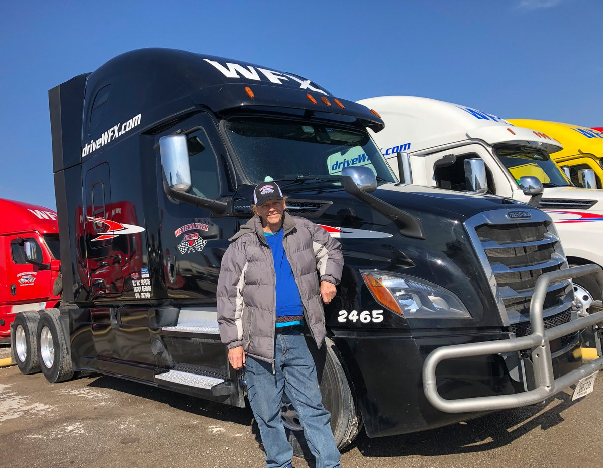 Martin, one of our new Company drivers, gets ready to hit the road after his pre-trip at our OKC yard. Happy Driving!  #driveyourdream #driveWFX #otrdriver #cdltrucker #cascadia #freightliner #ontheroad #miles #openroad