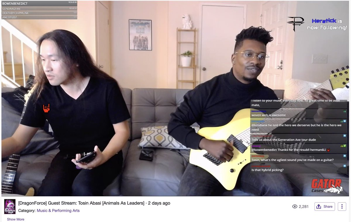 Two of our Gator Artists, @hermanli and @TosinAbasi, streamed live on Herman's twitch channel and it was awesome! Make sure you check out his upcoming episodes. Gator Cases proudly sponsor both of these incredible musicians. http://Twitch.tv/HermanLi #HermanLi #TosinAbasi