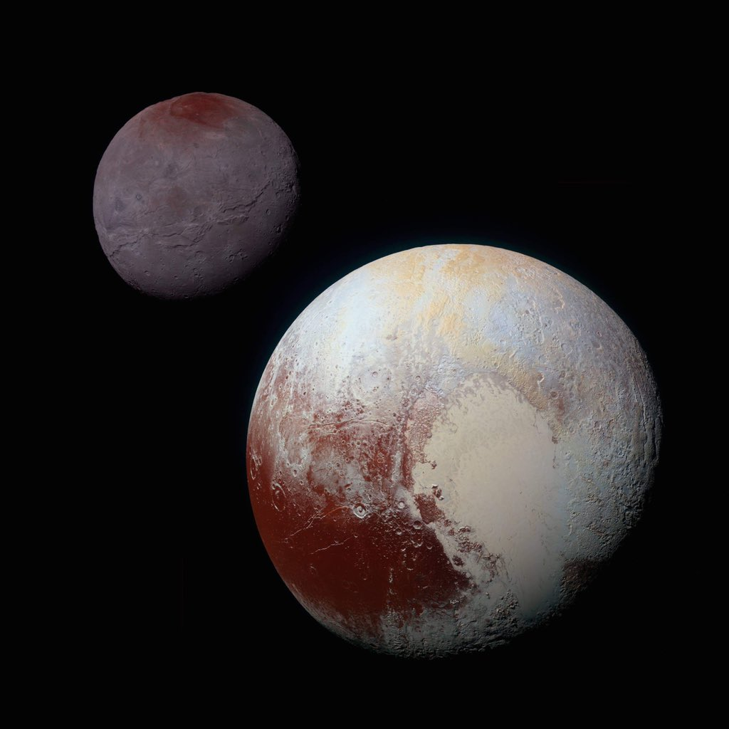 Thankfully, New Horizons blessed us with even clearer photos as it passed through the Pluto system. This composite photo highlights the striking differences between Pluto and Charon. (Relative sizes approx correct, but true separation is not to scale.)