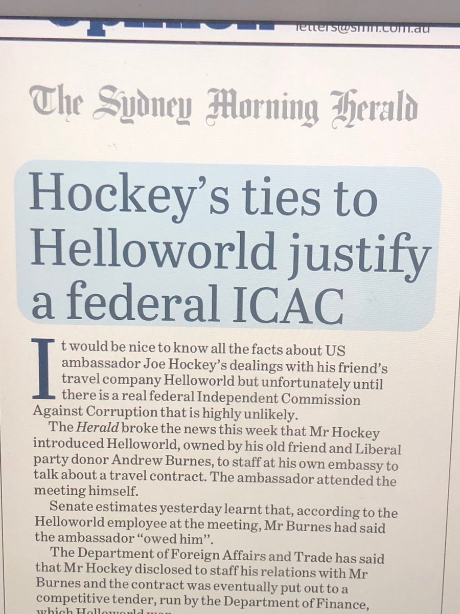 ⁦@ScottMorrisonMP⁩ denies any impropriety re ⁦@JoeHockey⁩ and Helloworld contract with DFAT. But ⁦@smh⁩ editorial says federal ICAC needed. Add to investigative agenda: Paladin $423m; $400m+ Reef Foundation handout; Murray Darling water theft; VET FEE HELP ... <br>http://pic.twitter.com/foRzcfDNmK