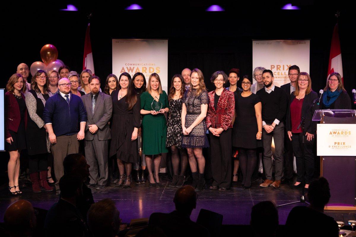 Félicitations à l'équipe de communications du projet de légalisation du cannabis de Santé Canada, récipiendaire du prix Diamant à la cérémonie des Prix d'excellence en communication du #GduC ! http://bit.ly/2RBJEQX #CommsGC2019 #PrixCommunication @GouvCanSante