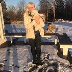 Beau is keeping me warm. I am bundled in a sweatshirt & heavy down jacket - New England winters! 💙❄️