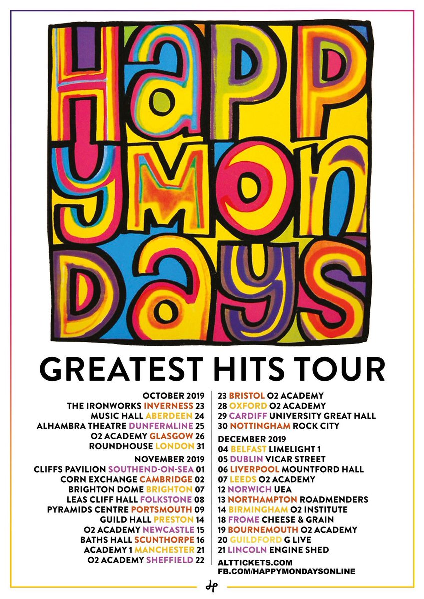 Happy Mondays Greatest Hits Tour 2019! Tickets go on sale tomorrow morning at 10am: http://bit.ly/2tnHRkT  💃🏽🎤❤️