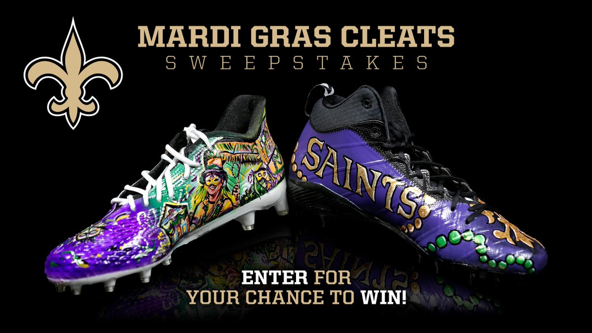 Don't miss your chance to win a one-of-a-kind pair of hand-painted Saints Mardi Gras cleats! ⚜️  Enter:  https://t.co/K308eeeXPw