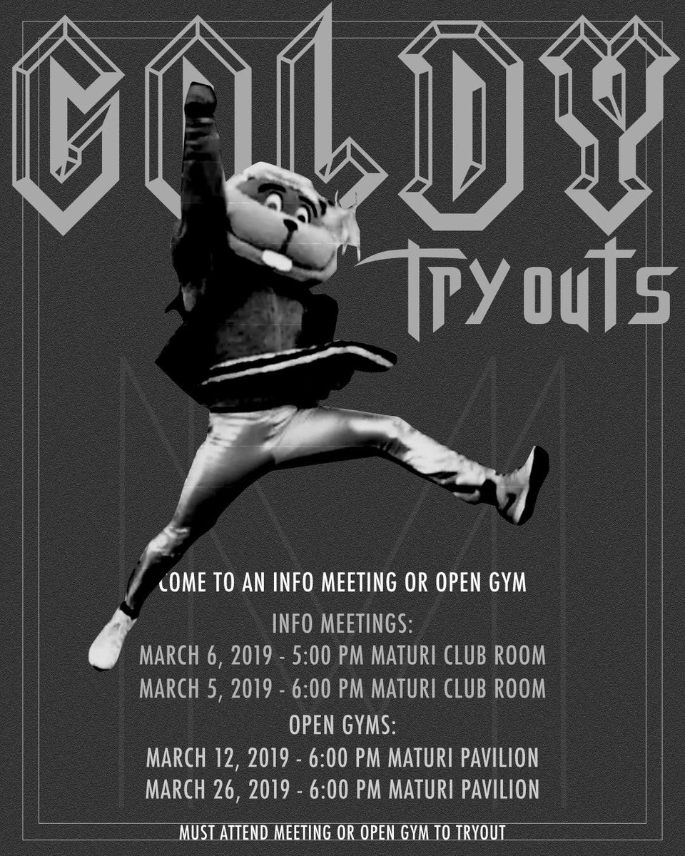 GOLDY TRYOUTS! Have you ever wanted to fly above the crowd at football? Dance with the Barnyard at basketball? Or run out of the tunnel with the hockey team? Now is your chance! Tryouts are right around the corner! Email go4it@umn.edu or direct message me for more info!