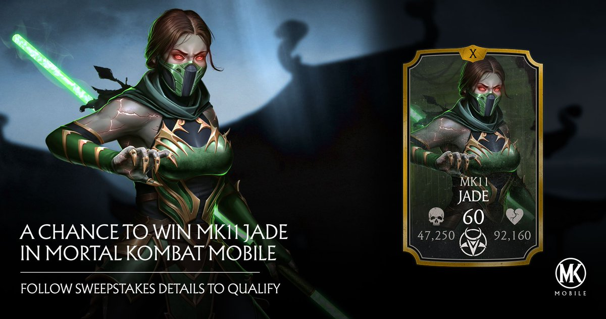 Jade revealed for mobile! Show us your best #Jade interpretation for a chance to win the new #MK11 character in mobile when the update launches! Retweet this post, #Sweepstakes, and #MKMobile to qualify.