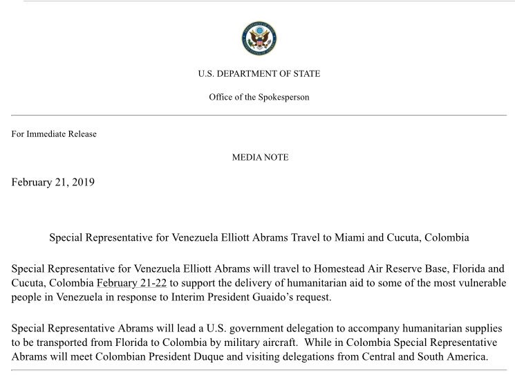 VENEZUELA: @StateDept announces Elliott Abrams will lead a US delegation traveling by military aircraft to the Colombian border to deliver humanitarian aid for Venezuela.