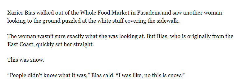 """Ha!!!! Snow comes to LA and some people are confused. """"People didn't know what it was. I was like, no this is snow."""" https://www.latimes.com/local/lanow/la-me-california-snow-20190221-story.html…"""