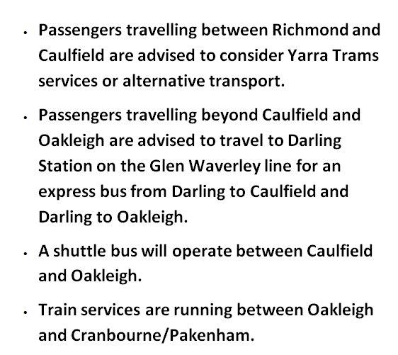 Cranbourne/Pakenham lines: Train services are suspended Flinders St - Oakleigh due to an overhead power fault near Caulfield.   Info: http://metrotrains.com.au