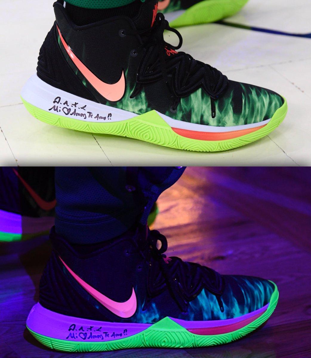 Kyrie with a Glow in the Dark Nike Kyrie 5 tonight! #NBAKicks