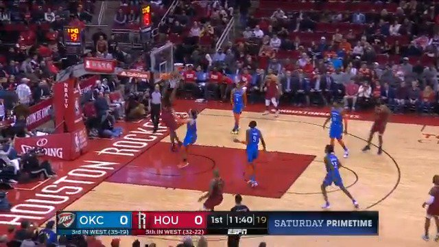 #JamesHarden picks out Kenneth Faried to open play!  #Rockets x #ThunderUp   📺: #NBAonABC