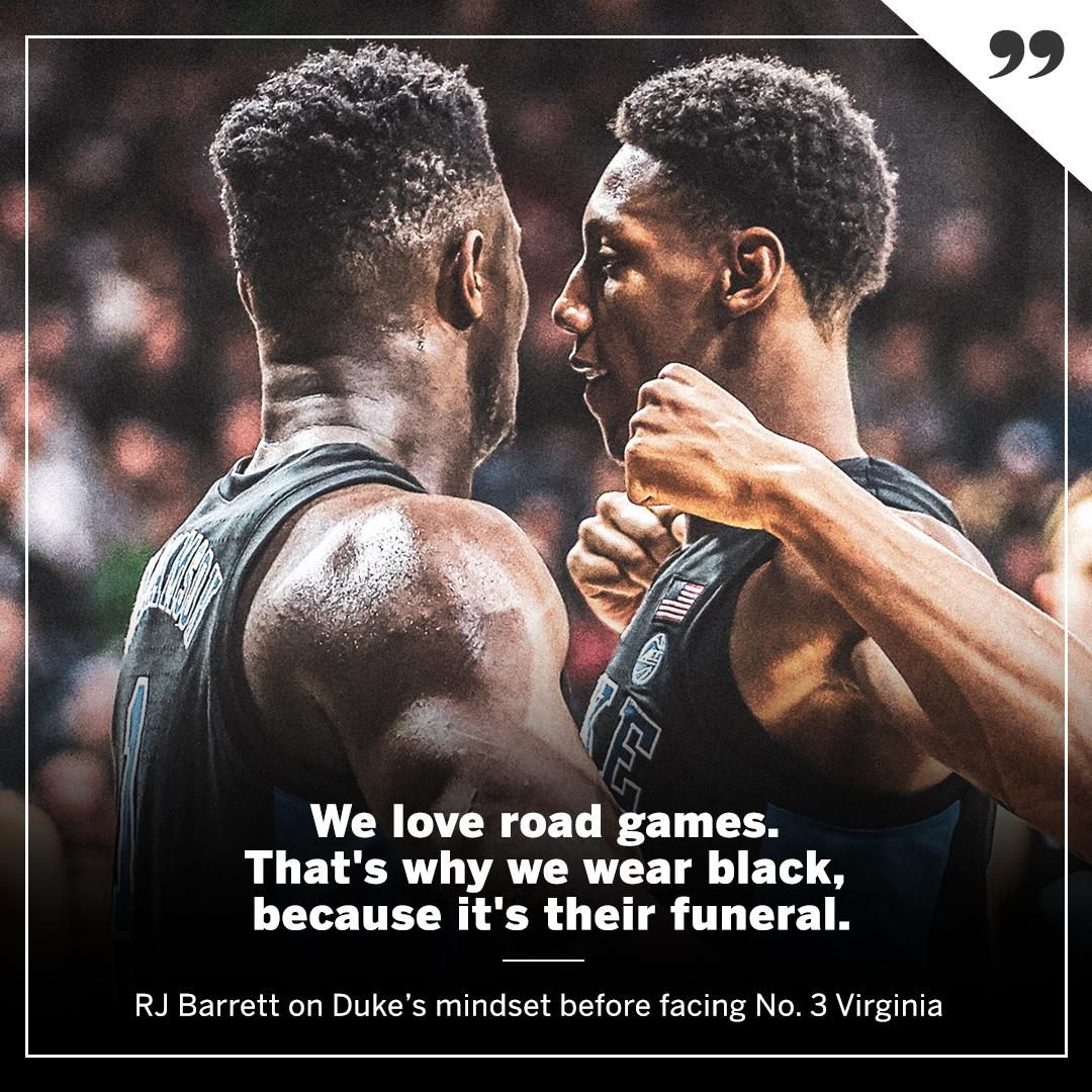 There's a reason @RjBarrett6 and @DukeMBB wear black on the road �� https://t.co/OJkbedHRFu