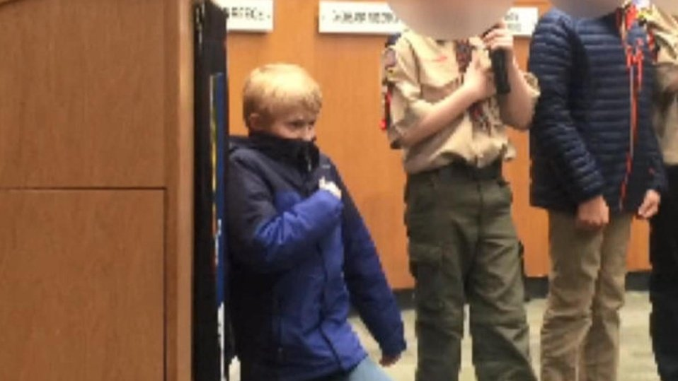 """10 years old Cub Scout Liam Holmes took a knee during the pledge of Allegiance at N.C City council meeting.   He said """"What I did was took a knee against racial discrimination, which is basically when people are mean to other people of different colors.""""  A HERO  Retweet ❤✊🏽✊🏾✊🏿"""