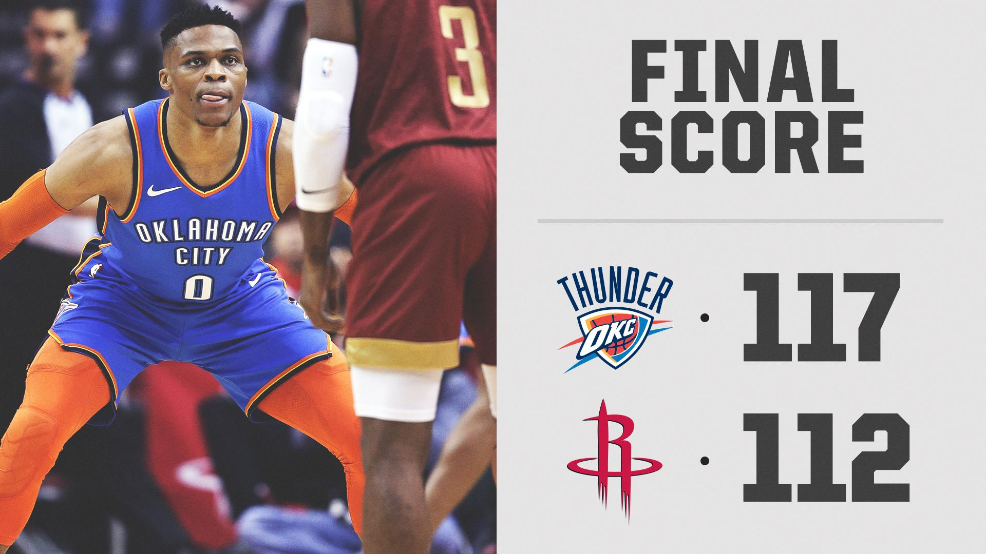 COMEBACK. COMPLETE.  The Thunder were down 26 points and still get the W in Houston. https://t.co/BKGv6CK9mz
