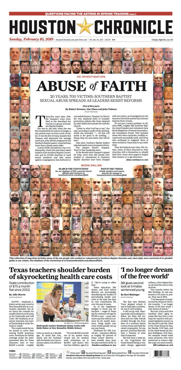 Take a look at Sunday's front page: 'Abuse of Faith' A Houston Chronicle Investigation #tomorrowspaperstoday
