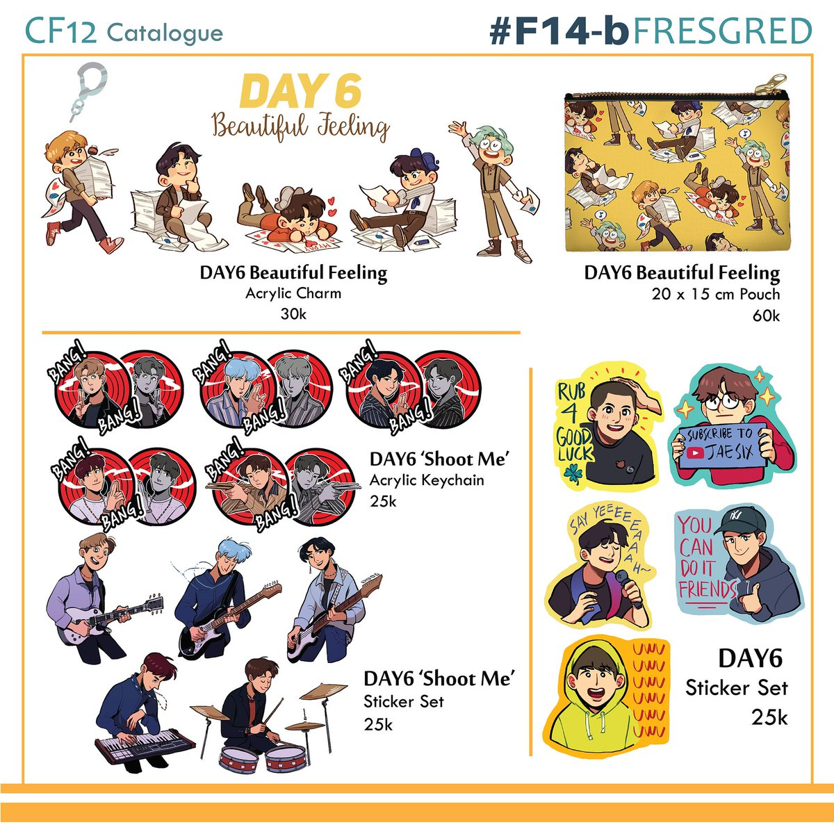 [RTs are appreciated 🌻] The catalog's out now!! Come to F14-b at #comifuro12 we are open for day 1 and 2! I'm not opening preorder bc of limited stock so get them fast!! 🌻🌻 #DAY6 #BNHA #Haikyuu