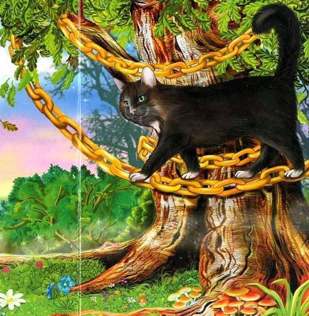 картинки к сказкам пушкина кот на дубе сделали это знак