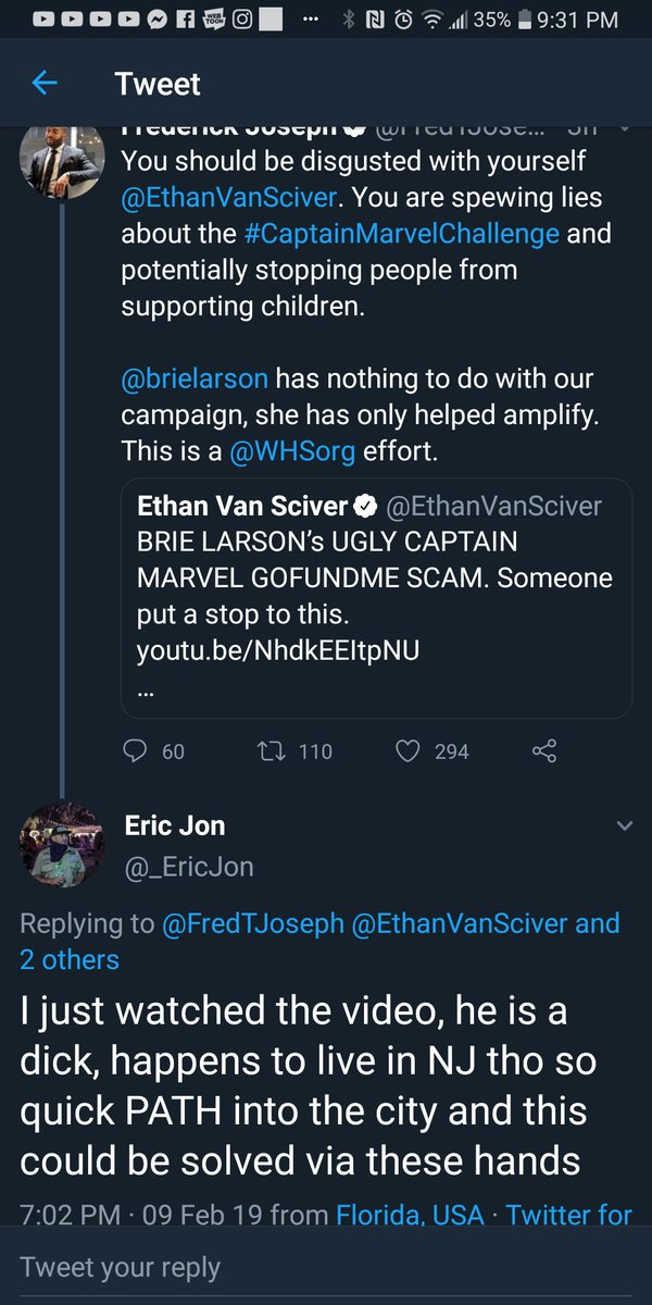 Nothing like calling out your followers on someone, getting someone THREATENING PHYSICAL VIOLENCE and then not calling out that follower for it.  Nice charity you got there, @FredTJoseph . would be nicer if you policed your followers like you do @EthanVanSciver .